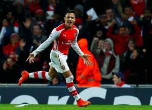 Alexis volvió a marcar para Arsenal, esta vez, en Champions League.