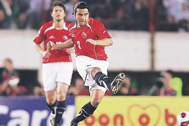 Claudio Maldonado jugandopor la Selección chilena.