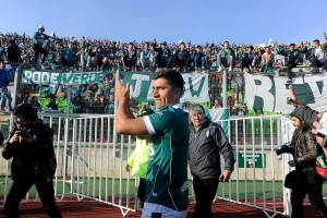 """David Pizarro en su regreso con la hinchada """"Caturra"""" (Fuente: Agencia Uno)"""