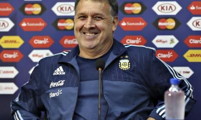 Télam 12/06/2015 La Serena- Chile-  El D.T. Gerardo Martino, realizó una conferencia de prensa previa al debut de la selección Argentina frente a Paraguay. Foto: Juan Roleri/aa