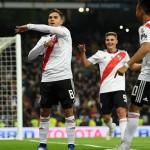 Gonzalo Martínez celebra su gol que ya le dio tranquilidad a River campeón.