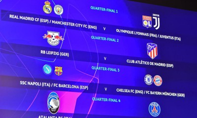 NYON, SWITZERLAND - JULY 10: In this handout image provided by UEFA, a view of the Quater-final draw results as shown on the big screen following the UEFA Champions League 2019/20 Quarter-final, Semi-final and Final draw at the UEFA headquarters, The House of European Football on July 10, 2020 in Nyon, Switzerland. (Photo by UEFA via Getty Images)
