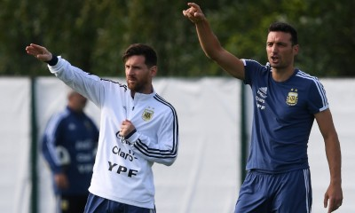 Argentina's forward Lionel Messi (L) listen to assistant coach Lionel Scaloni during a training session of Argentina's national football team at the team's base camp in Bronnitsy, near Moscow, on June 11, 2018 ahead of the Russia 2018 World Cup football tournament. (Photo by Francisco LEONG / AFP)        (Photo credit should read FRANCISCO LEONG/AFP/Getty Images)