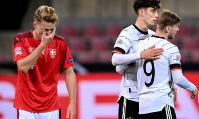 Cologne (Germany), 13/10/2020.- Germany's Kai Havertz (2-R) celebrates with his teammate Timo Werner (R) after scoring the 2-2 equalizer during the UEFA Nations League group stage, league A, group 4 soccer match between Germany and Switzerland in Cologne, Germany, 13 October 2020. (Alemania, Suiza, Colonia) EFE/EPA/SASCHA STEINBACH